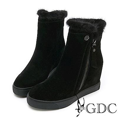 GDC-高貴真皮貂毛精緻楔型短靴-黑色