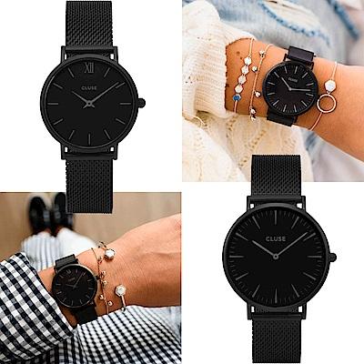 CLUSE La Bohème Mesh 米蘭錶帶-黑框黑底/38+33mm尺寸任選