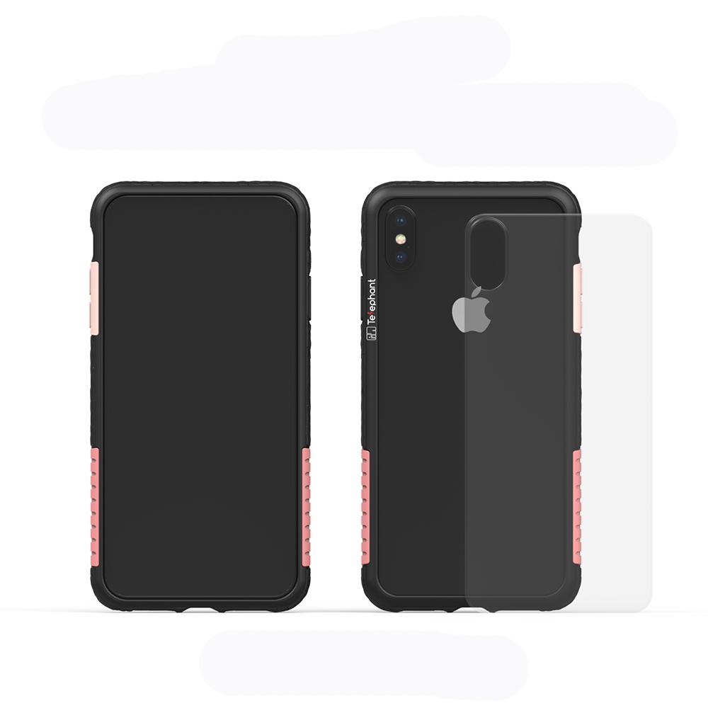 Telephant太樂芬 NMD iPhone X/XS  黑-配玫瑰(附背蓋)