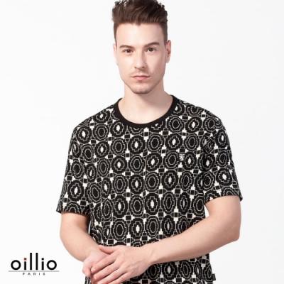 oillio歐洲貴族 超柔涼感穿搭圓領T恤 滿版圖案 黑色
