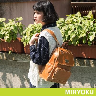 MIRYOKU-經典復古皮革系列 / 多口袋休閒出遊後揹包-駝