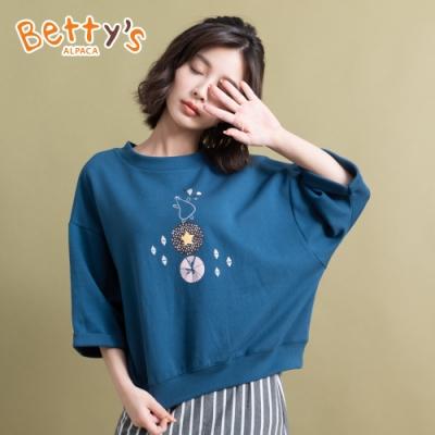 betty's貝蒂思 圓領短袖小貝羊印花T-shirt(深藍)