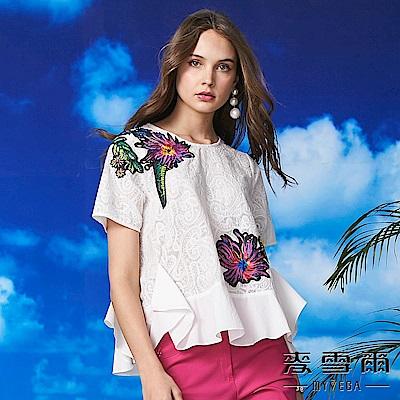【麥雪爾】多彩花朵刺繡蕾絲上衣