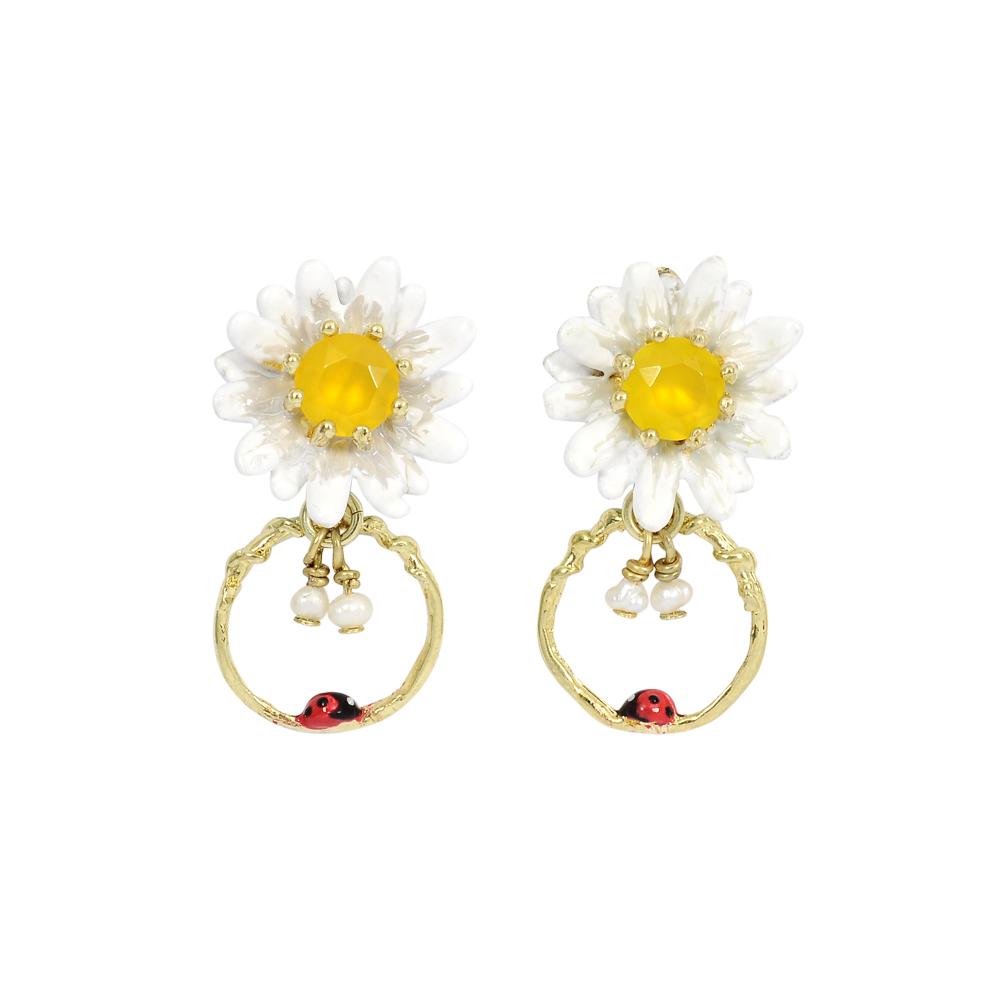 Les Nereides 動物花園系列 雛菊與瓢蟲寶石耳環