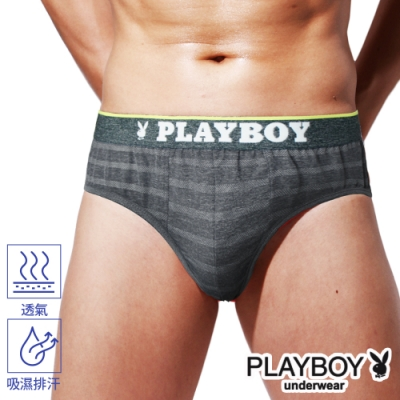 PLAYBOY男內褲 韓系輕時尚條紋三角褲-單件-麻黑