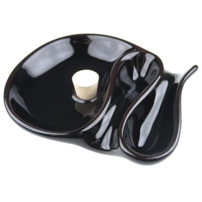 柘製作所-日本進口-陶瓷製煙灰缸-可置放兩支煙斗(黑色)