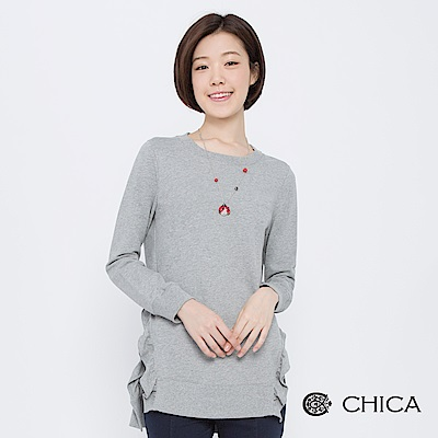 CHICA 凱西散步側開衩木耳邊長版上衣(3色)