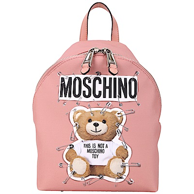 MOSCHINO 中型 別針泰迪熊印花後背包(粉色)