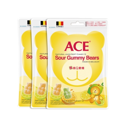 【ACE】比利時進口 酸熊Q軟糖 量販包3袋裝(200g/袋)