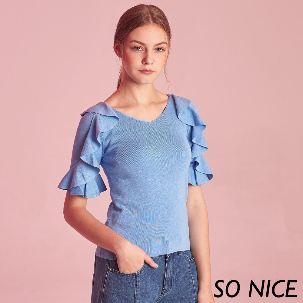 SO NICE氣質荷葉造型袖針織上衣