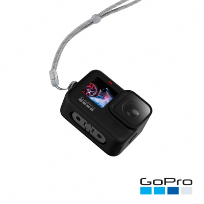 GoPro-HERO9 Black專用矽膠護套+繫繩-黑ADSST-001