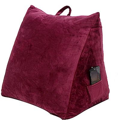 Gloria 時尚水晶絨可水洗三角抬腿枕-酒紅色