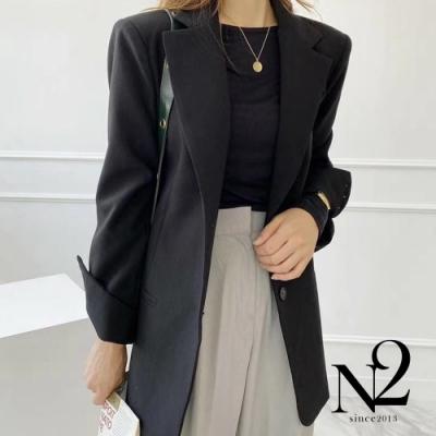 外套 正韓經典款翻領兩釦西裝外套(黑)N2