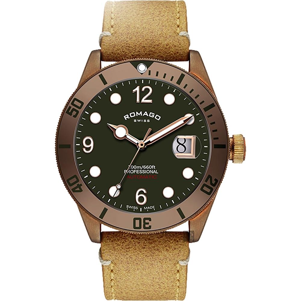 ROMAGO 限量青銅錶 潛水機械錶-綠/42.5mm RM106-GR