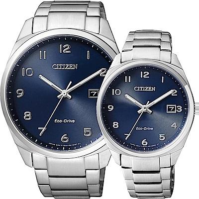 CITIZEN Eco-Drive 光動能經典簡約對錶-藍/42+35mm