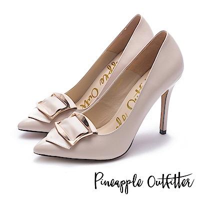 Pineapple Outfitter 知性女爵 品牌金屬飾釦尖頭高跟鞋-粉色