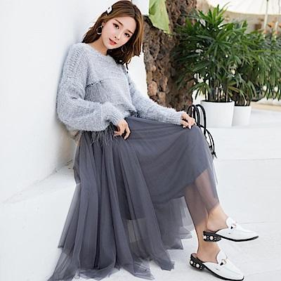 出清La Belleza素面鬆緊腰圍滾金邊拼接網紗不規則砰砰長紗裙