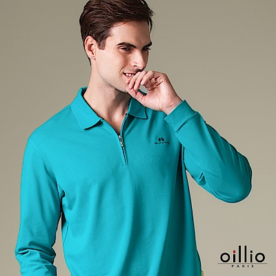 歐洲貴族 oillio 長袖POLO 素面簡約 簡單刺繡 藍色