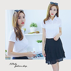 EELADY-OL條紋加強腰身短袖襯衫(白色)