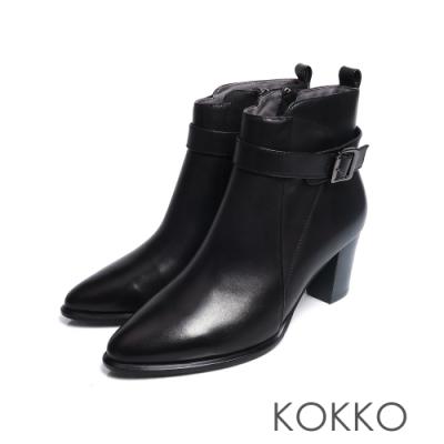 KOKKO - 顯瘦感拉鍊尖頭粗跟短靴 - 黑巧克力