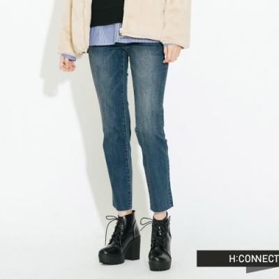 H:CONNECT 韓國品牌 女裝-不收邊牛仔直筒褲-藍