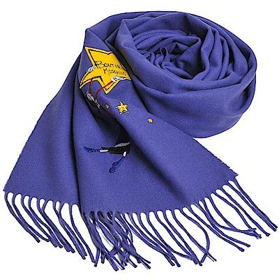 MOSCHINO BOUTIQUE 奧莉薇刺繡圖騰美麗諾羊毛披肩/圍巾(亮紫色)