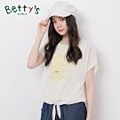 betty's貝蒂思 綁帶雪紡背心條紋假兩件上衣(淺黃綠色)
