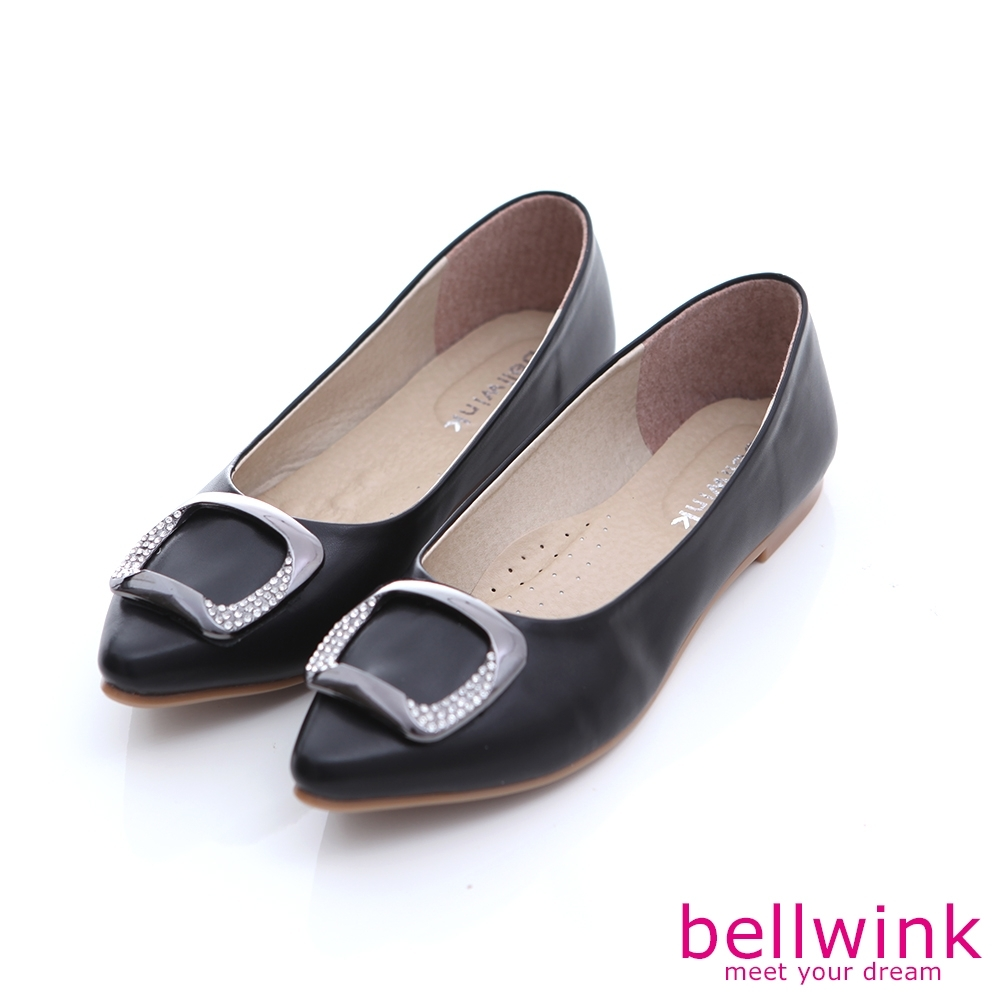 bellwink-方形鑽尖頭平底鞋-黑-b1004bk