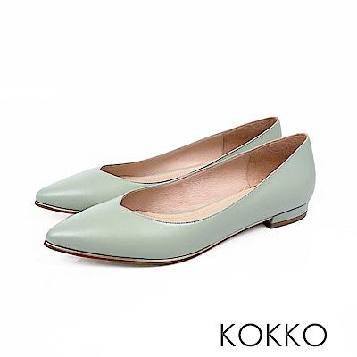 KOKKO - 愛的練習題真皮V口尖頭平底鞋-苔蘚綠