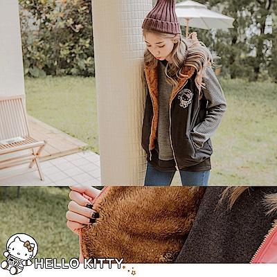 太空KITTY~內刷毛鋪棉連帽背心外套-OB大尺碼