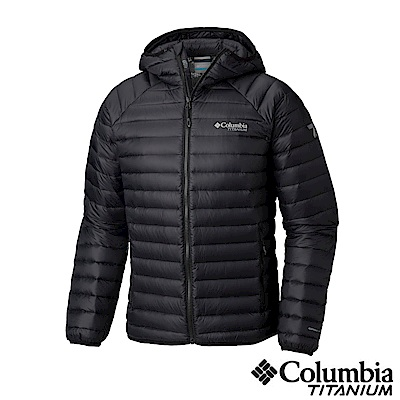 Columbia哥倫比亞 男款-鈦 Omni-heat 3D保暖連帽羽絨外套-黑色