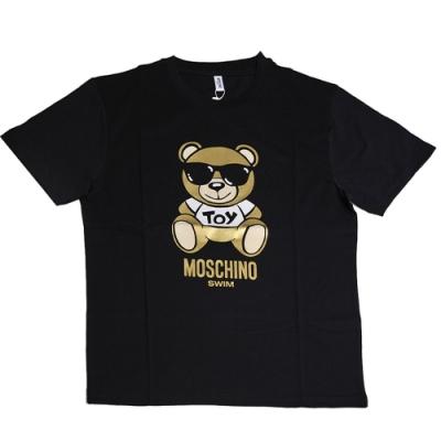 MOSCHINO 金色TOY小熊 LOGO圖騰100%棉質T恤(黑/L)