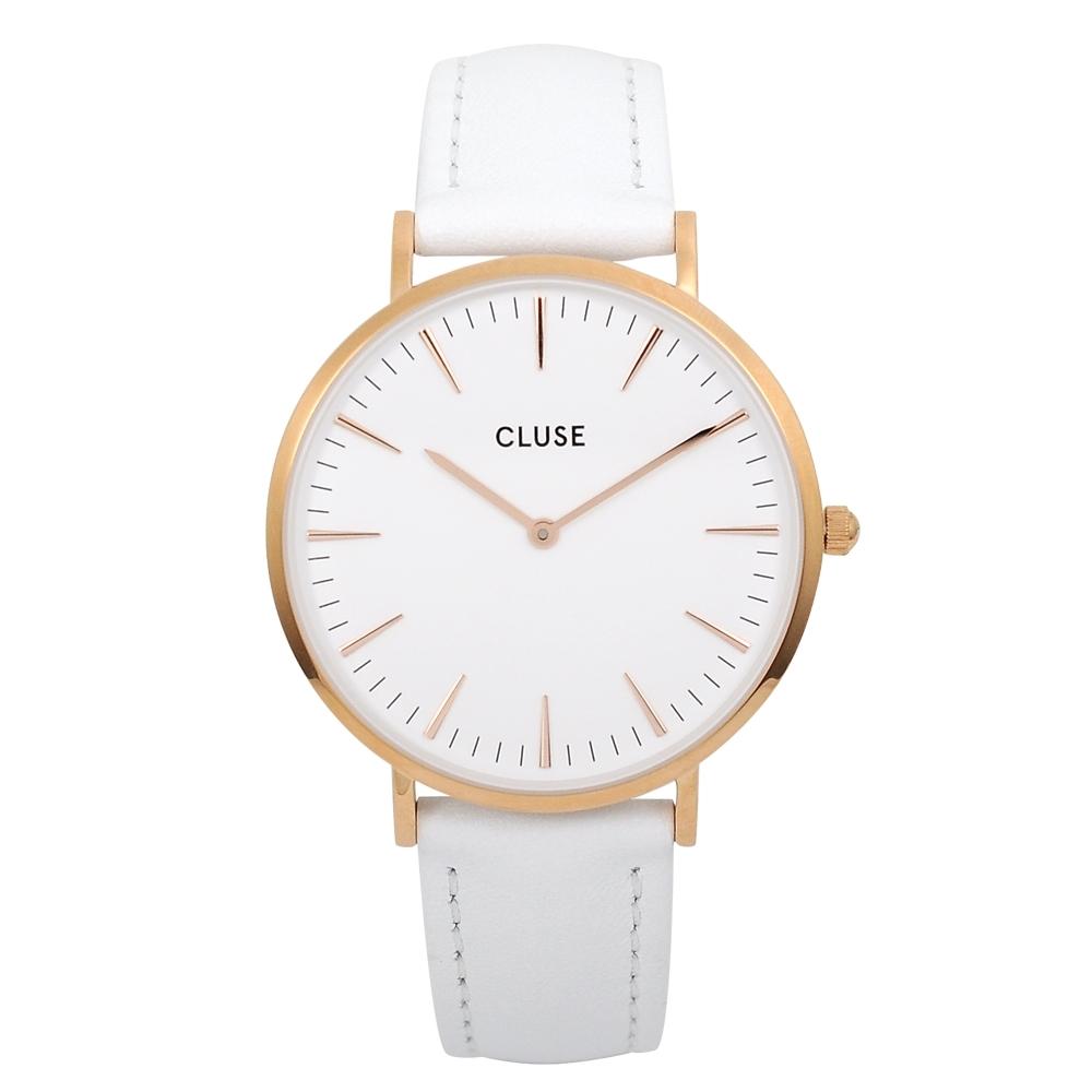 CLUSE荷蘭精品手錶 波西米亞玫瑰金系列 白錶盤皮革錶帶38mm