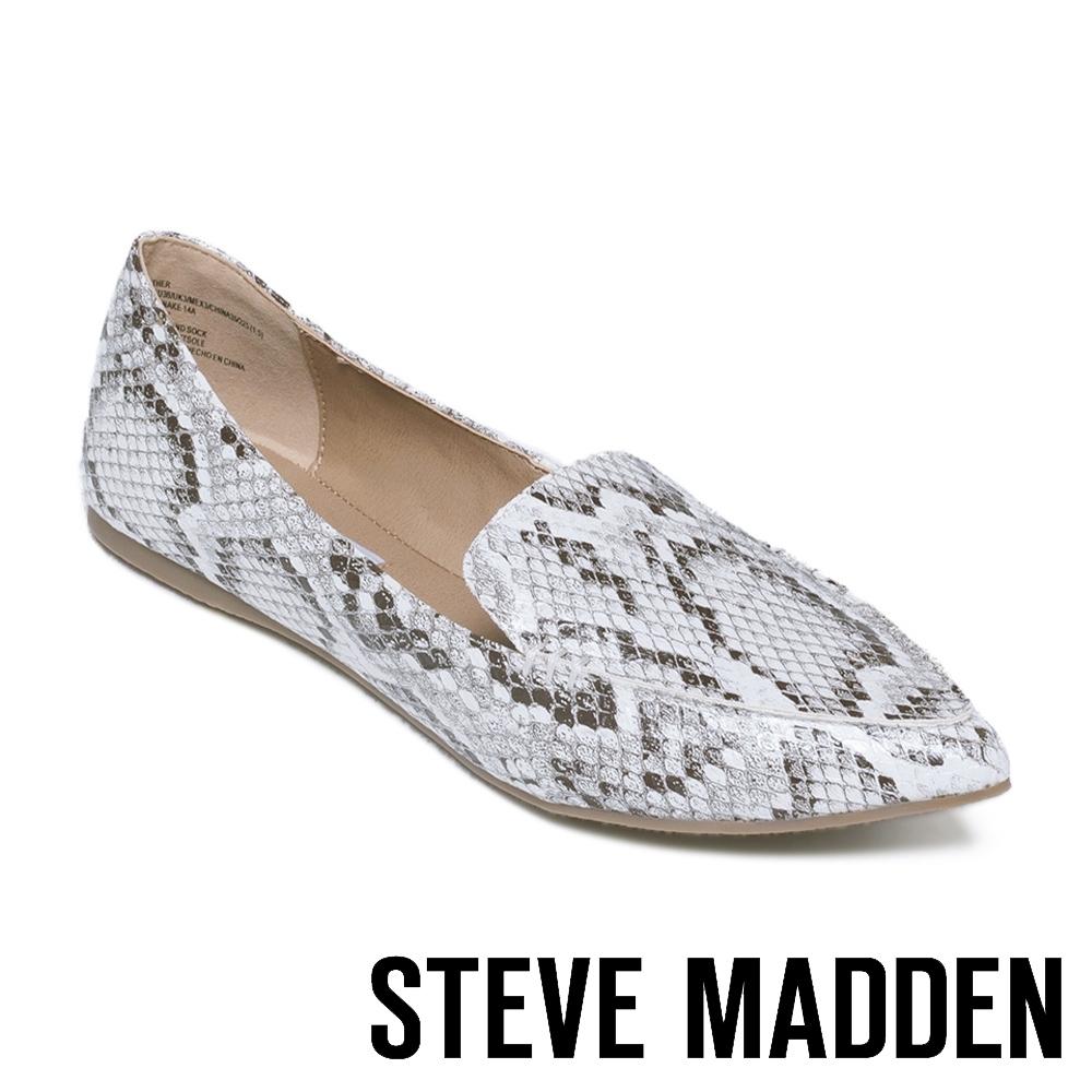 STEVE MADDEN FEATHER 時尚品味蛇紋尖頭平底鞋 白色