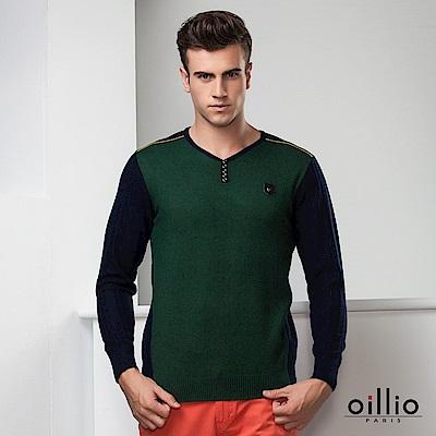 oillio歐洲貴族 長袖V領毛衣 頂級貂絨羊毛毛料 綠色