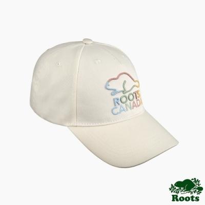 Roots配件- 彩色海狸系列 經典棒球帽-白色