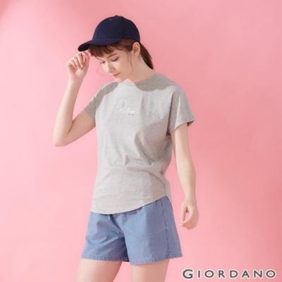 GIORDANO 女裝純棉寬版刺繡造型T恤-04 中花灰