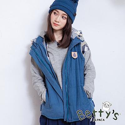 betty's貝蒂思 清爽配色連帽抽繩鋪棉背心(藍綠)