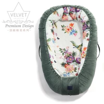 La Millou Velvet頂級棉柔系列-嬰兒睡窩/床中床-天堂鳥花園(舒柔墨綠)