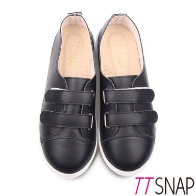 TTSNAP休閒鞋-MIT素面雙層魔鬼氈輕量真皮厚底鞋 黑