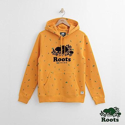 Roots 男裝- 周年系列 松果滿版印花連帽上衣-黃