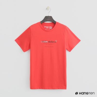 Hang Ten - 女裝 - 有機棉-簡約純色英文字T桖 - 紅