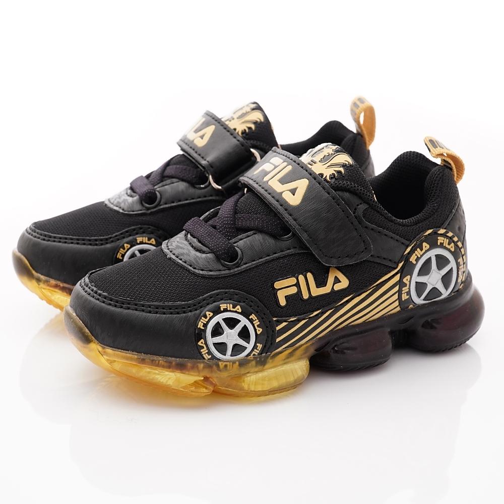 FILA頂級童鞋 賽車電燈鞋款 FO56U-099黑(中小童段)