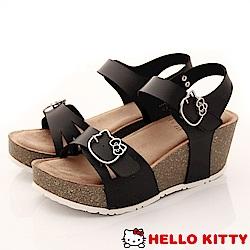 HelloKitty童鞋 厚底涼鞋款 EI18180黑(大童親子段)