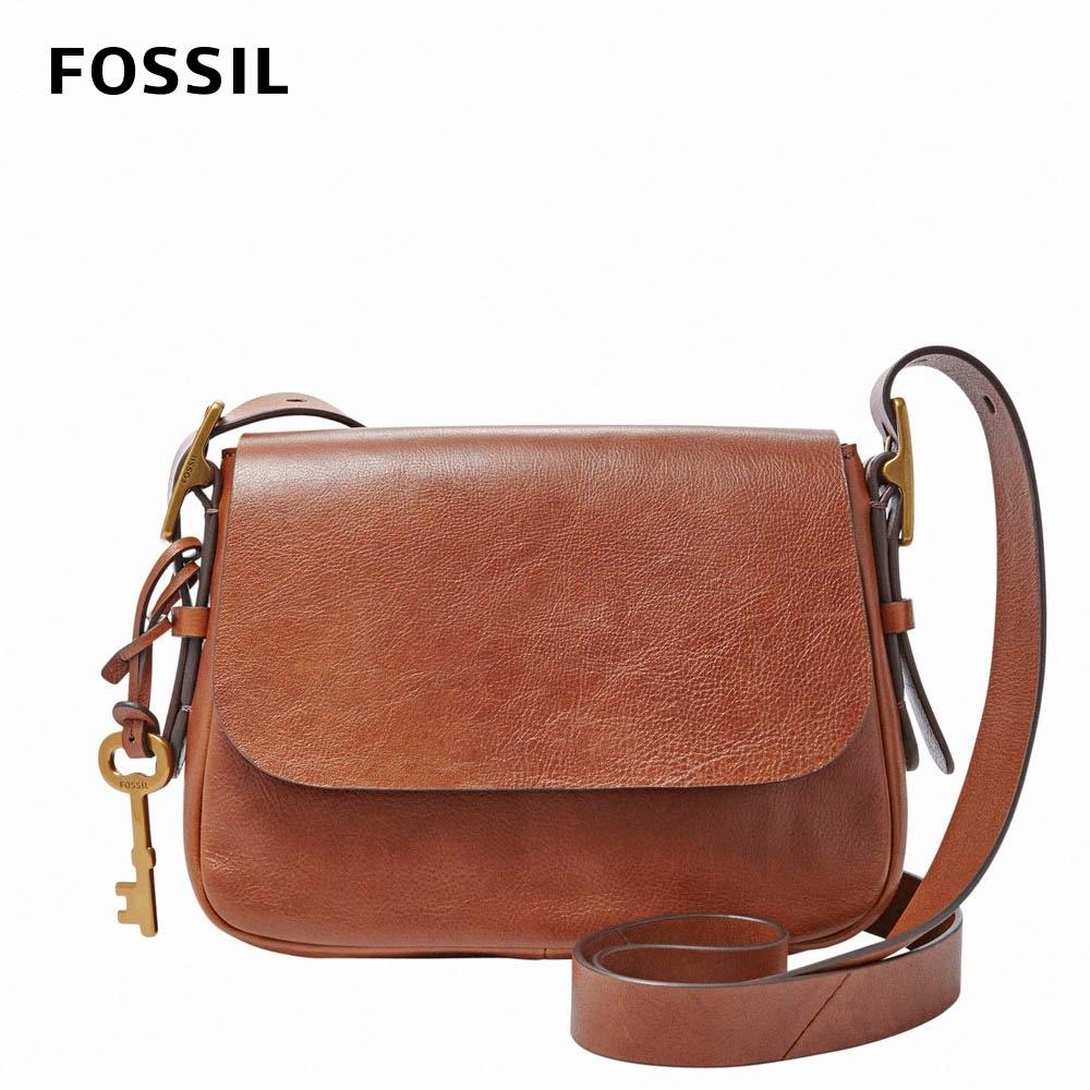 FOSSIL Harper 真皮小馬鞍斜背包-棕色 ZB6759200