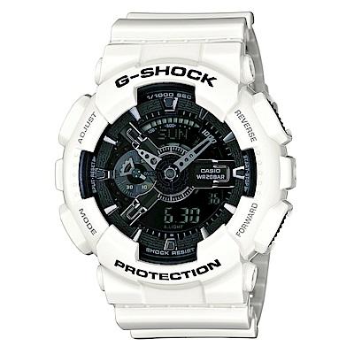 G-SHOCK 冷冽抗暑色調重機裝置Man概念錶(GA-110GW-7A)-黑x亮白/52