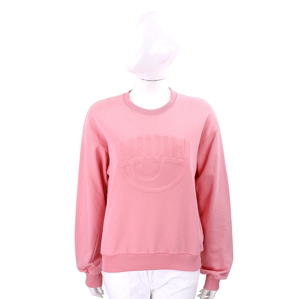 Chiara Ferragni 3D 浮雕眨眼粉色棉質運動衫 大學T
