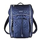 GUCCI經典GG LOGO印花尼龍牛皮陪襯釦式翻蓋束口後背包(藍)