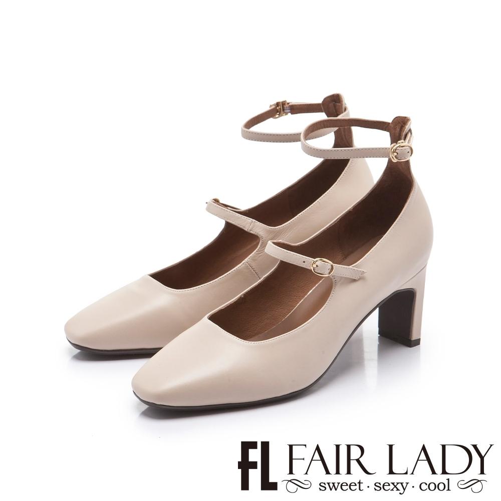 FAIR LADY 優雅小姐方頭羊皮瑪麗珍繫踝扁跟鞋 杏