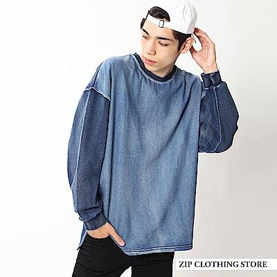 藍染長袖寬版運動衫(2色) ZIP日本男裝